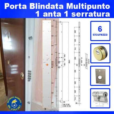 Multipoint armored door with one door and one lock