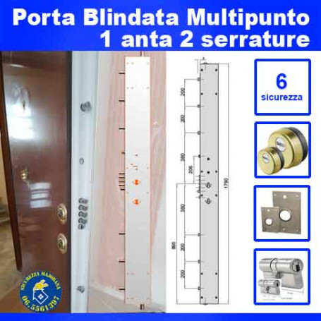 Multipoint armored door with one door and two locks