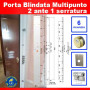 Multipoint armored door with two doors and one lock