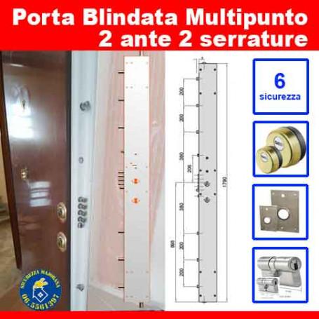 Multipoint armored door two doors two locks