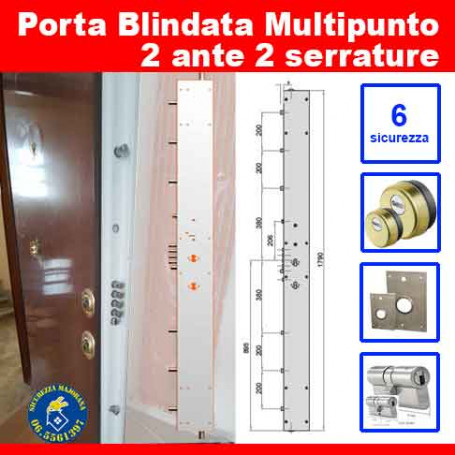 Porta blindata Multipunto due ante due serrature