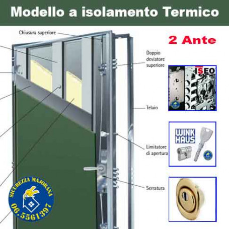 Porta blindata ad isolamento termico a due ante