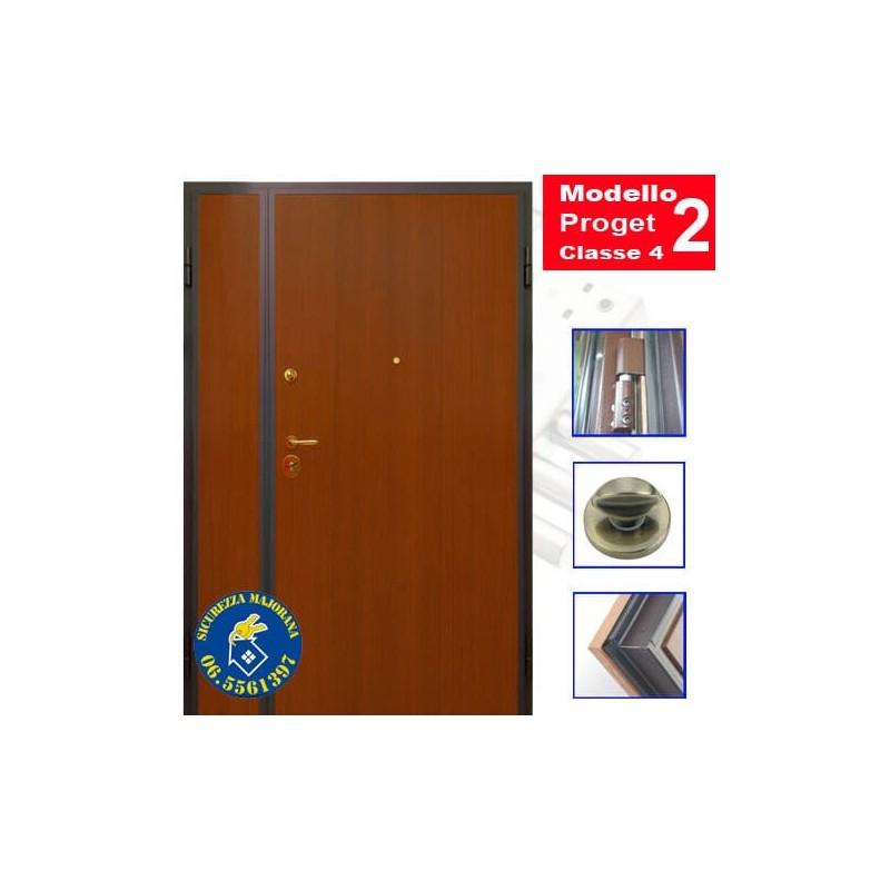 Produzione Porta Blindata Classe 4 Liscia Modello Proget A Due Ante